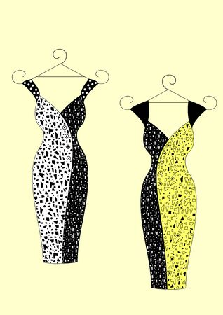 Dresses for women without sleeves with abstract pattern vector illustration