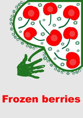 Infographics hand plucks berries. Frozen berries background design stock Illustration