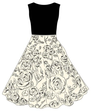 Fashion for women black sweater and skirt with a rose pattern.Hand drawn.