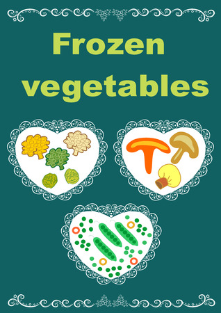 Beautiful creative original designs.Vegetables and snowflakes.Frozen vegetables.For further use in the design of the packaging of frozen vegetables.Editable and scalable vector illustration. Illusztráció