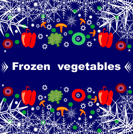 Beautiful creative original designs. Vegetables and snowflakes. Frozen vegetables. For further use in the design of the packaging of frozen vegetables. Editable and scalable vector illustration. Zdjęcie Seryjne - 92500192