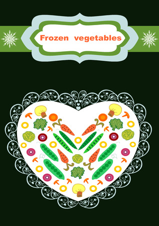 Beautiful creative original designs of vegetables and snowflakes, Frozen vegetables for further use in the design of the packaging of frozen vegetables in Editable and scalable illustration.