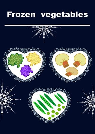 Beautiful creative original designs.Vegetables and snowflakes.Frozen vegetables.For further use in the design of the packaging of frozen vegetables.Editable and scalable vector illustration. Stock fotó