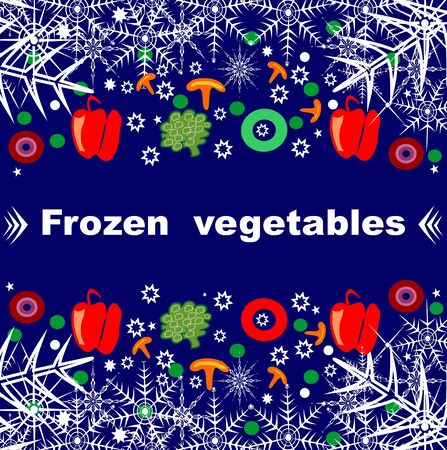 Beautiful creative original designs. Vegetables and snowflakes. Frozen vegetables. For further use in the design of the packaging of frozen vegetables. Editable and scalable vector illustration. Stock Photo