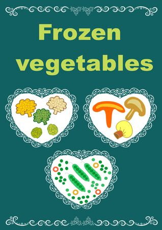 Beautiful creative original designs.Vegetables and snowflakes.Frozen vegetables.For further use in the design of the packaging of frozen vegetables.Editable and scalable vector illustration. Stock Photo