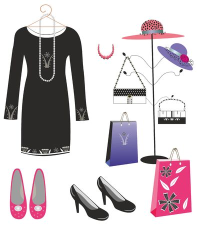 Black dress shoes and handbags.Editable and scalable vector