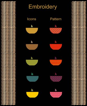 Icons deep dish soup and print ornament embroidery and knitting abstract background vector illustration. Zdjęcie Seryjne - 92500198