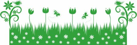 Grass green with birds and butterflies.Editable and scalable vector