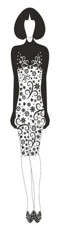 Stylish dress with a decorative pattern. Editable and scalable vector