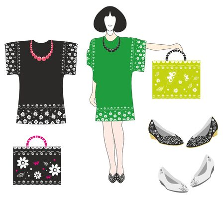 Fashion clothes with floral patterns.Editable and scalable vector