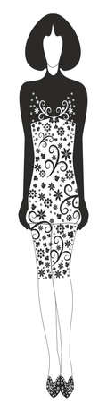 Stylish dress with a decorative pattern.Editable and scalable vector Zdjęcie Seryjne - 92648043