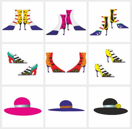 Fashionable shoes and stylish hats.Editable and scalable vector