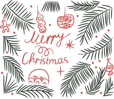 Merry Christmas greeting with a Christmas tree and toys drawing brush Zdjęcie Seryjne - 92618369
