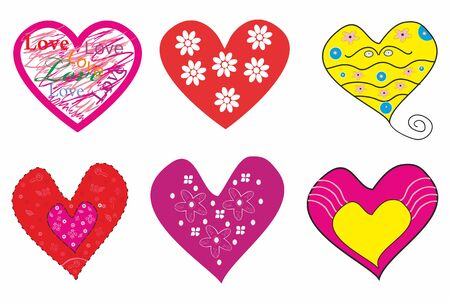 Beautiful set of romantic hearts.Vector illustration Ilustracja