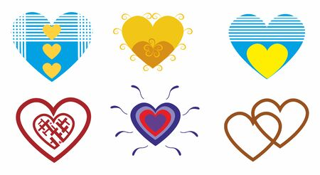 Romantic hearts for lovers.Set vector illustration Zdjęcie Seryjne - 92582969
