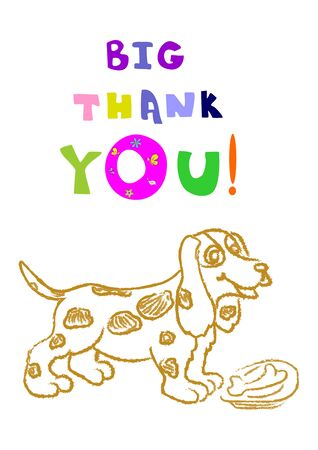 Banner Big thank you text and yellow Dog. A tasty bone for a dog lies in a plate.