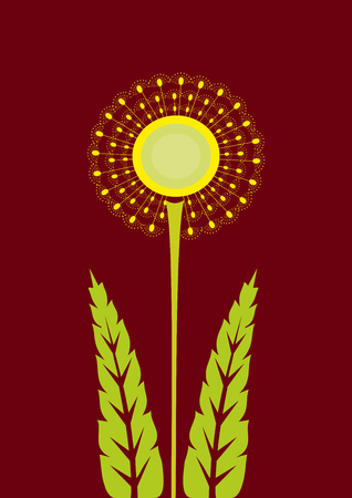 Abstract background of marsala and dandelion.Template for embroidery and applique for print on clothes. Illustration