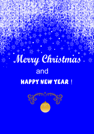 Beautiful abstract greeting card with a wish of merry Christmas and New Year Ilustracja