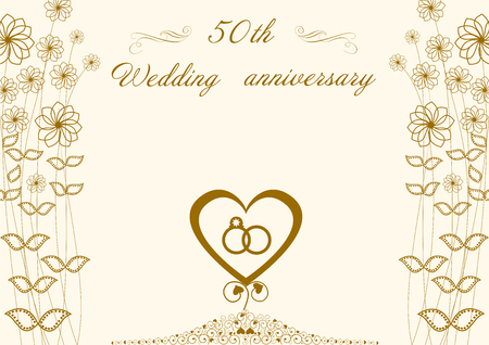 Congratulations to the 50 golden wedding anniversary Heart and rings abstract flowers Ilustracja