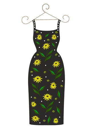 Beautiful dress with floral print easily editable and scalable vector illustration