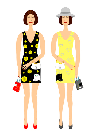Two girls in beautiful dresses with floral print easily editable and scalable vector illustration