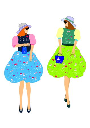 Two girls in beautiful dresses with floral print easily editable and scalable vector illustration EPS10