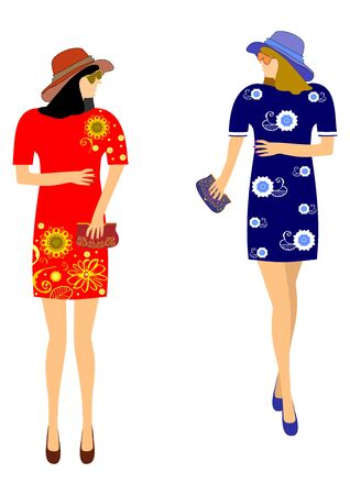 Fashions for girls anniversary easily editable and scalable Illustration