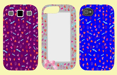 Set coverings for phones with hearts easily editable and scalable vector illustration EPS10 Zdjęcie Seryjne - 93020350