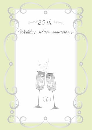 Wine glasses  for a silver wedding easily editable and scalable vector illustration EPS10