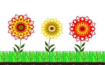 Grass and flowers abstract background easily editable and scalable vector illustration EPS10