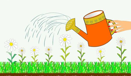 Hand watering can and flowers  anniversary easily editable and scalable vector illustration EPS10