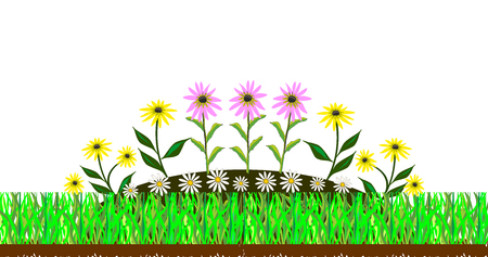 Landscaping beds.Abstract vector illustration of a lawn grass and flower bed with flowers