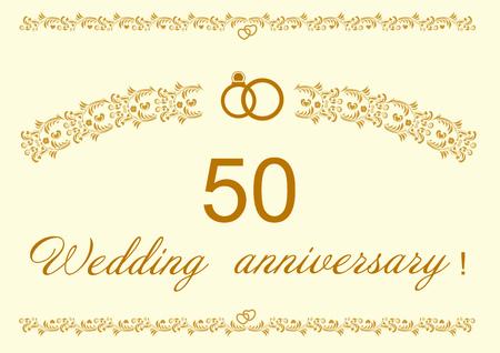 50th Wedding anniversary Invitation editable vector illustration.