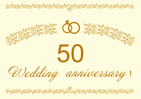 50th Wedding anniversary Invitation editable vector illustration.