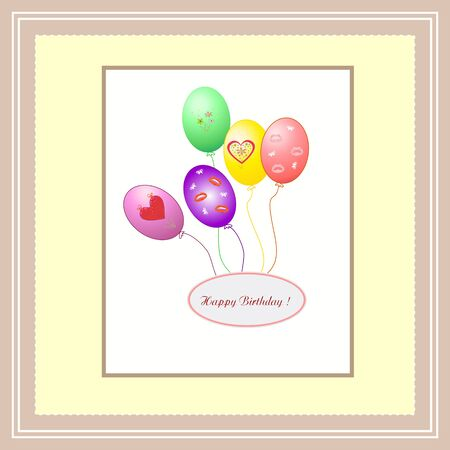 Beautiful abstract vector background with balloons Happy Birthday editable and scaleable vector illustration