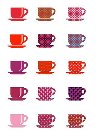 Icons cup and saucer and print ornament embroidery and knitting vector illustration