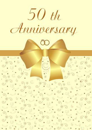 Original golden wedding invitation editable and scaleable vector illustration