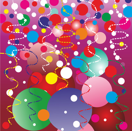 Christmas background with balloons and confetti.Editable and scalable vector