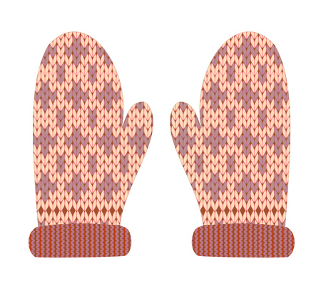 Knitted winter mittens vector illustration with a beautiful ornament