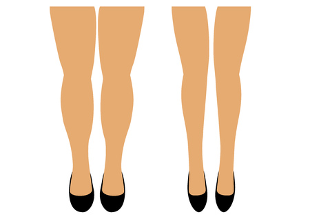 Beautiful female long legs in shoes vector illustration.The legs of the body for later use in the design of