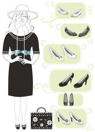 Shopping women black white dress and black shoes.Vector Illustration