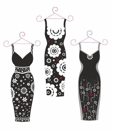 Beautiful vector illustration.WoBeautiful vector illustration.Women's Dresses.Black and whitemen's Dresses.Black and white Zdjęcie Seryjne - 93265515