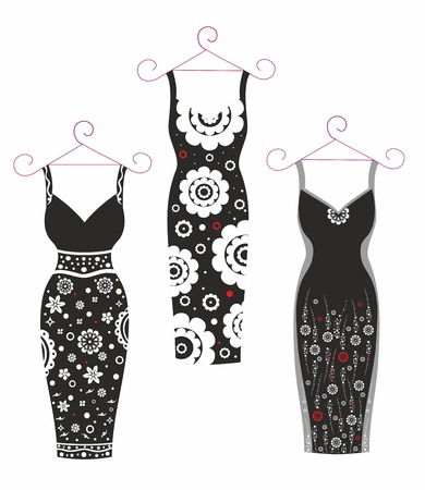 Beautiful vector illustration.WoBeautiful vector illustration.Women's Dresses.Black and whitemen's Dresses.Black and white Illustration