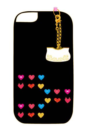 Cover handbag beauty design for a mobile phone smartphone with a small handbag Illustration