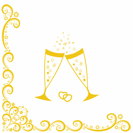 Champagne glasses.Golden wedding celebration.Scalable vector