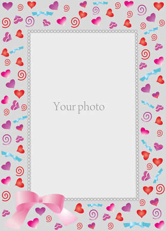 Decorative frame with hearts for photo.