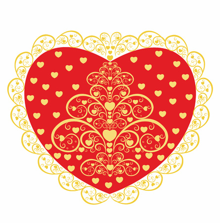 Red heart with a decorative pattern. Valentine's day card design.