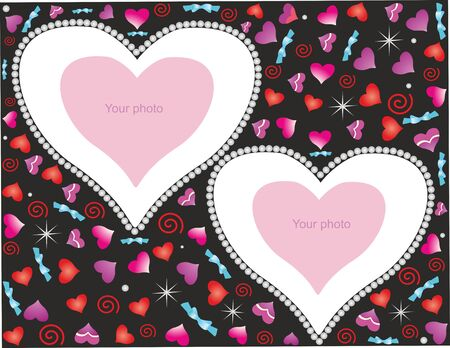 Romantic background for congratulation with hearts