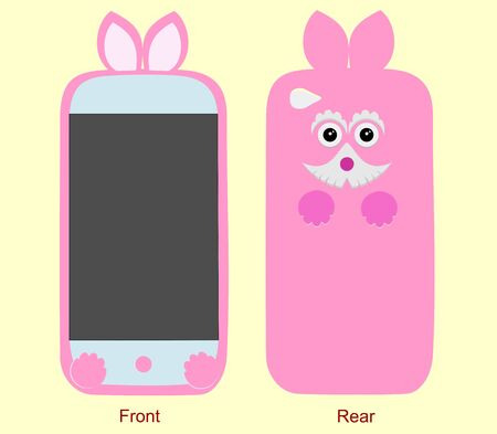 Beautiful design cover for mobile phone front and rear. Editable vector illustration with original decorative elements funny dog Ilustracja