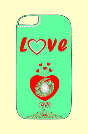Design phone cover with hearts for young lovers. Illustration